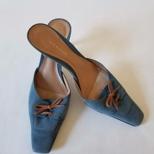 Ann Taylor Women Blue Suede Mules Bow Kitten Shoes